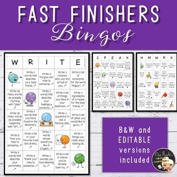 Fast Finishers Bingos