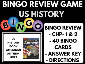 Bingo Review Game American Anthem Holt US History Chapter 1 and 2