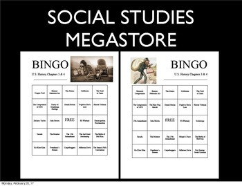 Bingo Review Game American Anthem Holt US History Chapter 3 and 4