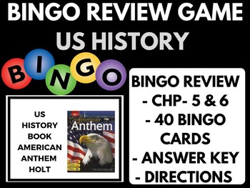 Bingo Review Game American Anthem Holt US History Chapter 5 and 6