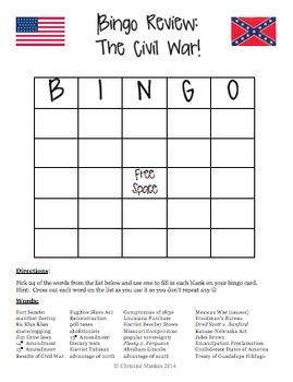 Bingo Review Game:  The Civil War!