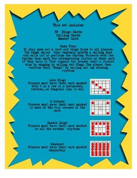 Bingo Rhythm Half, Quarter, Eighth, and Sixteenth Notes with Quarter Rest
