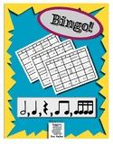 Bingo Rhythm Half, Quarter, Eighth, and Sixteenth Notes wi
