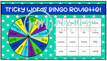 Bingo Roulette Tricky Words Letters & Sounds-Phase 4