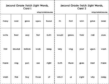 Bingo! Second Grade Dolch Sight Words