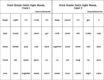 Bingo! Third Grade Dolch Sight Words