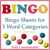 Bingo Sheets for 5 Word Categories: Fully Customizable