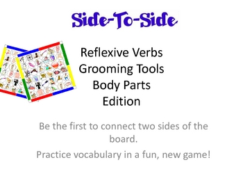 Bingo Side-To-Side  - Vocabulary Game - Reflexive Verbs, Body Parts