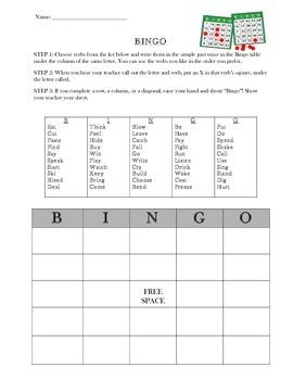 Bingo Simple Past