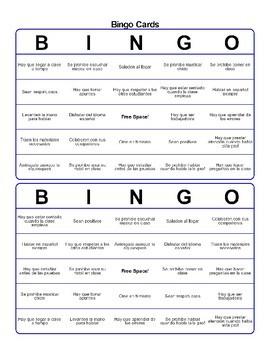 Bingo Spanish first day of school las normas las reglas de la clase