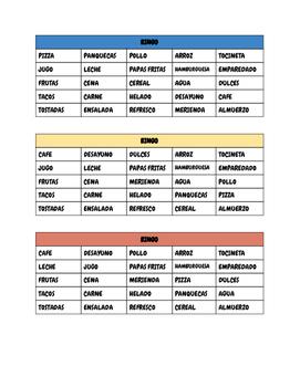 Bingo ( Spanish vocabulary related to Food)