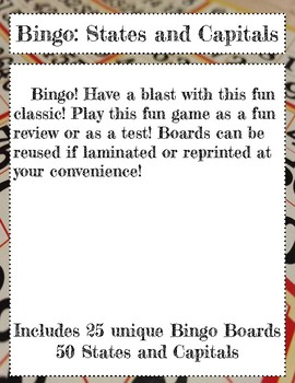BINGO: States and Capitals