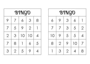 Bingo Subtraction Game 1 to 12
