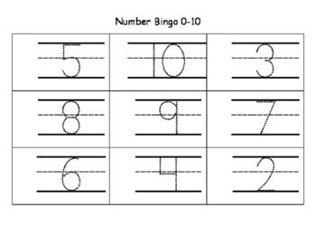 Bingo Trace Numbers 0-10