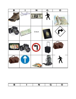 Bingo Travel Vocabulary