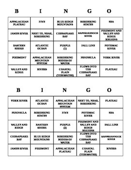 Bingo - Virginia Studies
