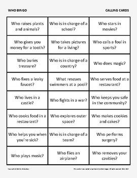 "Bingo: ""Who"" Questions"