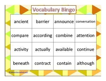 Bingo - Words for 5th grade