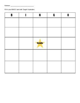Bingo Writing Assessment