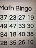 Bingo cards and powerpoints for number recognition and pla