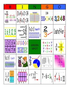 Bingo cards k-5 Math Night