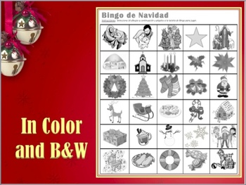 Bingo de Navidad - Spanish Christmas Vocabulary Bingo