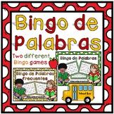 Bingo de Palabras en Espanol.