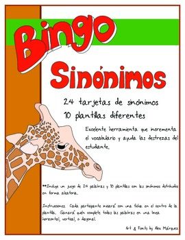 Bingo de Sinónimos en español - Spanish Bingo Synonyms