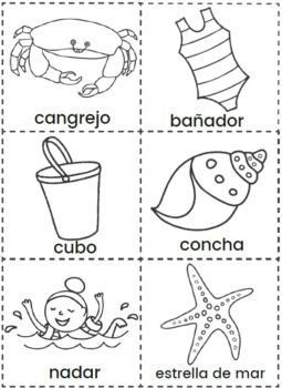 Bingo de Verano Juego Imprimible - Summer Bingo Printable Game in Spanish