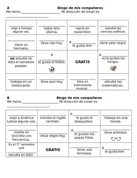 Bingo de compañeros - Spanish First-day Bingo Game
