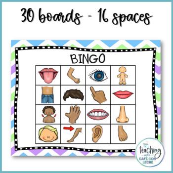 Bingo de las partes del cuerpo (Body parts Bingo)