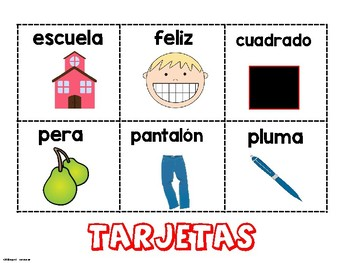 Bingo de las rimas- Rhyming Bingo Spanish
