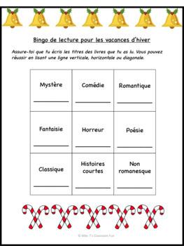 Bingo de lecture - Vacances d'hiver