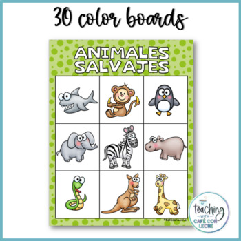 Bingo de animales salvajes  (Spanish Wild Animal Bingo)