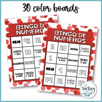 Bingo de números 1-50  (Spanish Number Bingo)