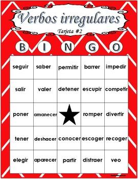 Bingo de verbos irregulares