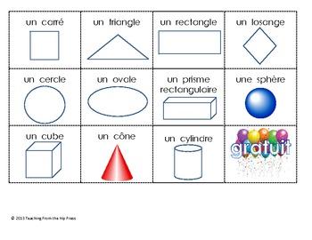 Bingo des formes 2d et objets 3D