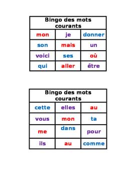 Bingo des mots courants
