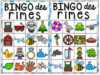 Bingo des rimes french rhyming bingo by maternelle avec mme andrea - Rime en u ...