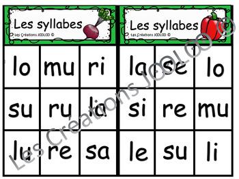 Bingo des syllabes - Les légumes