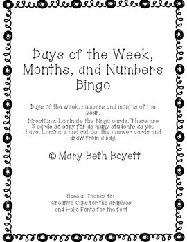 Bingo for Days of the week, months of the year and number words