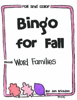 Bingo for Fall: Word Families