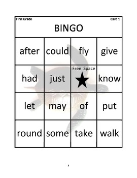 Bingo for First Grade Dolch Basic Sight Words
