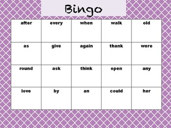 Bingo for First Grade Dolch Words