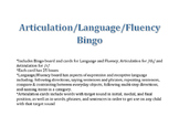 Bingo for Fluency, Language, Articulation