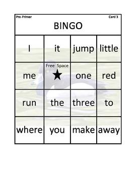 Bingo for Pre-Primer Sight Words