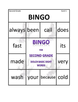 Bingo for Second Grade Dolch Basic Sight Words
