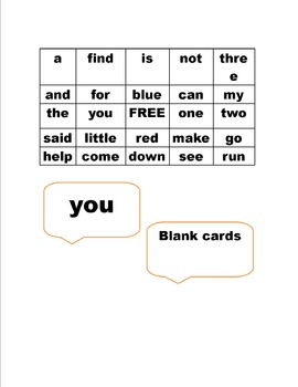 Bingo for Sight Words-Pre-Primer