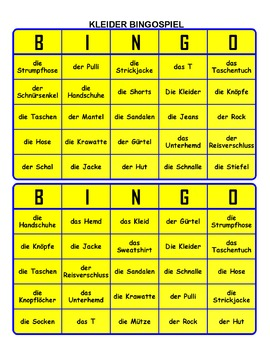 Bingo Game, Wordsearch Puzzle  and Word Cards  for Kleidung.