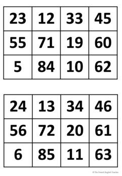 Bingo game - numbers 1-99